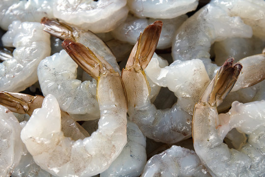 large raw peeled shrimp, macro
