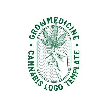 Cannabis With Hand Illustration for logo or TShirt Designs Template Vector, hemp, Cbd, Thc