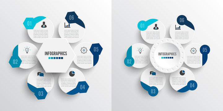 Set vector illustration infographics 6 options. Template for brochure, business, web design. For content, diagram, flowchart, steps, parts, timeline infographics, workflow, chart
