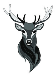 Vector illustration in gray tones of a male deer with big horns.