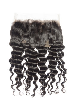loose curly black human hair looped lace frontal