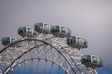 London, UK - September 24, 2006: London Eye observation wheel on the South Bank of the River Thames in London city