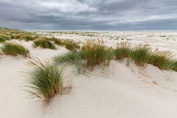 Clouds over the beach on Juist, East Frisian Islands, Germany.