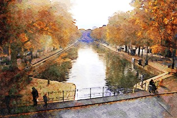 the walk on the Seine canals in Paris in the autumn Wall mural