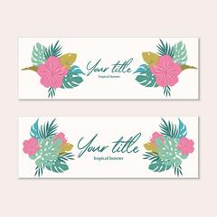 Tuinposter Abstract bloemen Tropical web banner