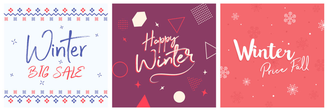 Winter Cover Flyer Banner poster template vector illustration Background greeting card set pack