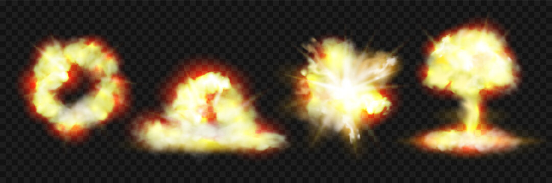 Explosion blasts, nuclear bomb bangs with fire and smog clouds, vector realistic 3d icons isolated on transparent background. Nuclear blast mushroom, dynamite explosion burst effects
