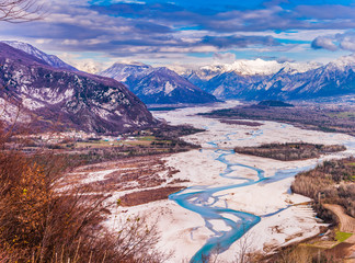 Papiers peints Brun profond The meanders of the Tagliamento. Last natural river of Europe. Friuli. Italy