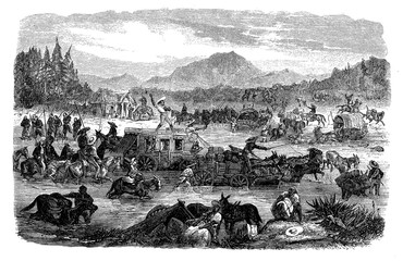 Mexico heavy postal caravans traffic  on the Veracruz route to and from the city harbor,19th century