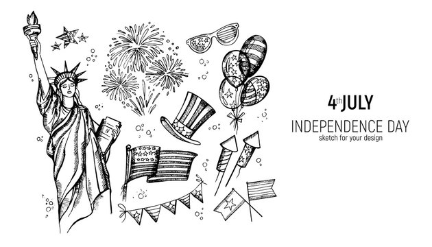 4th of July set. Hand drawn vector illustrations. Independence Day of America. USA national sketches. Material design for greeting card, flyer, banner, poster
