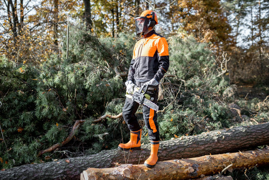 Full length portrait of a professional lumberjack in protective workwear walking with chainsaw on the logs in the forest