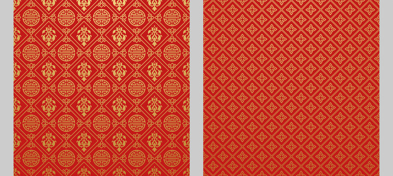 Red backgrounds. Two wallpapers in Chinese and Japanese style. Vector illustration.