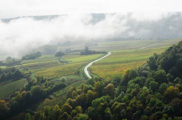 Papiers peints Blanc les vignes de Beaune sous le brouillard en automne en côte-d'or bourgogne