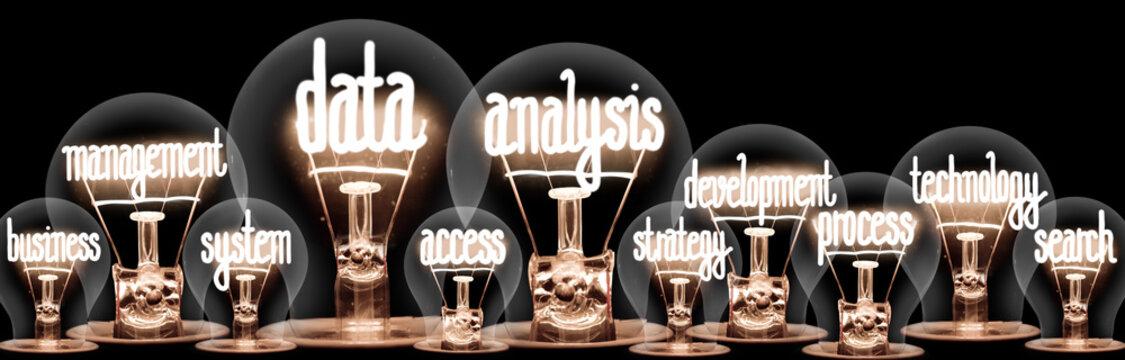 Light Bulbs with Data Analysis Concept