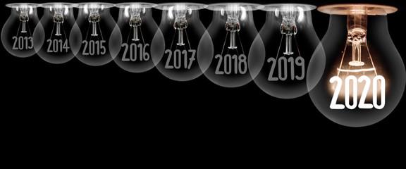 Light Bulbs with New Year 2020