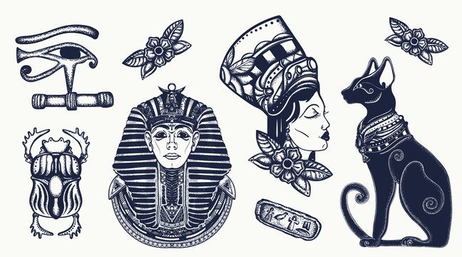 Ancient Egypt elements. Pharaoh, black cats, sacred scarab, egyptian queen Cleopatra, eye Horus. Old school tattoo vector set