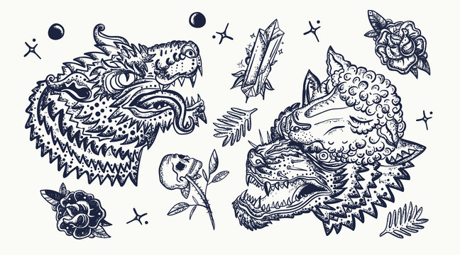 Wolf head. Old school tattoo collection. Werewolf in sheep clothing. Aggressive wolves traditional tattooing style. Gothic art. Dark fairy tale