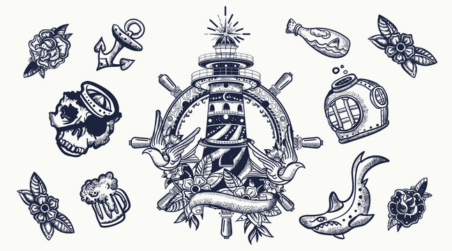Sea adventure. Nautical elements. Traditional tattooing style. Lighthouse, anchor, shark and steering wheel. Old school tattoo set