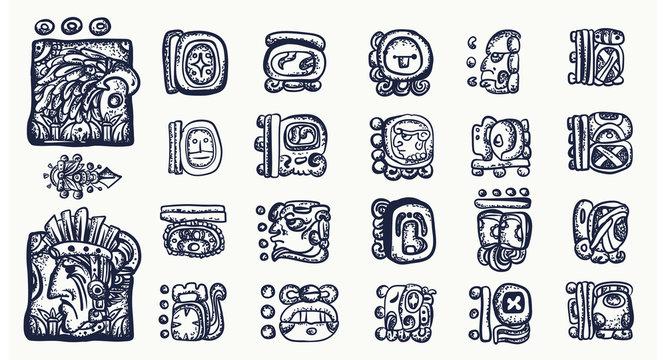 Mayan alphabet. Mexican mesoamerican glyphs, hieroglyphics. Maya civilization collection. Old school tattoo style