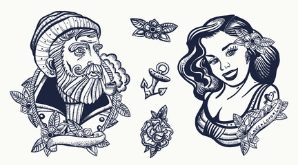 Sea wolf captain and sailor girl. Marine elements. Sea adventure collection. Old school tattoo. Traditional tattooing style