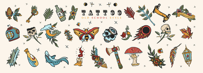 Tattoo elements collection. Big set. Old school flash tattooing style