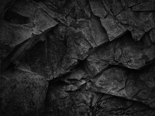 Black grunge texture. Dark gray stone background. Black rock texture. Fragment of a mountain close-up. Abstract geometric gray black white pattern background. Black stone backdrop. Fotobehang