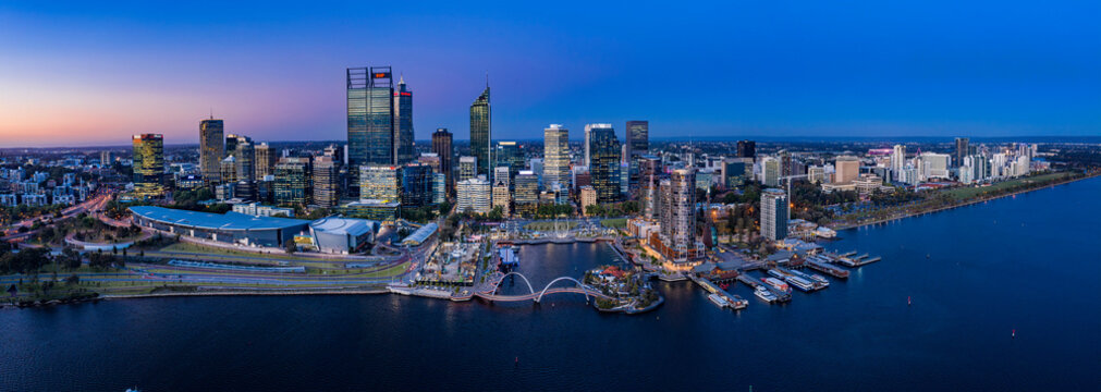 Perth Australia November 5th 2019:  Aerial panoramic view of the beautiful city of Perth on the Swan river at dusk
