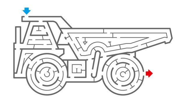 オフロードダンプトラックの迷路(塗り絵)