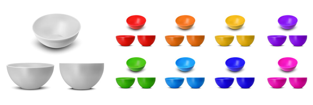 Color plastic rice and noodle bowl
