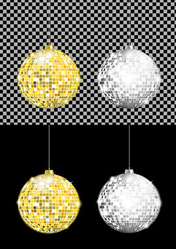 Vector realistic image of gold and silver disco balls with bright flares