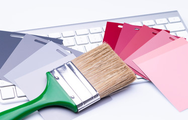 Brush and color cards on keyboard
