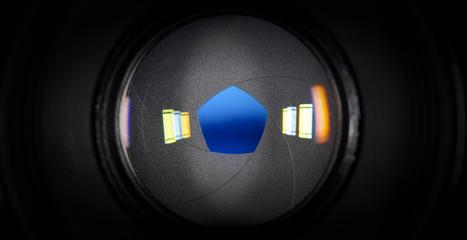Aperture photographic lens with five petals