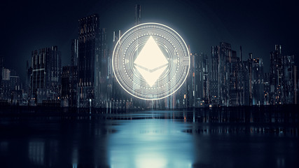 3D Rendering of Ethereum (ETH) coin on top of buildings in capital city during night time with reflection on puddles on wet street. Concept of using blockchain technology to drive financial market