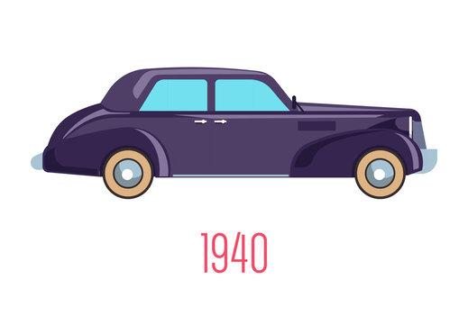 Retro car of 1940, vintage vehicle isolated icon