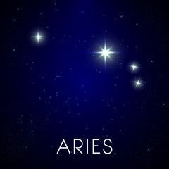 Zodiac stars constellation, aries sign in night sky