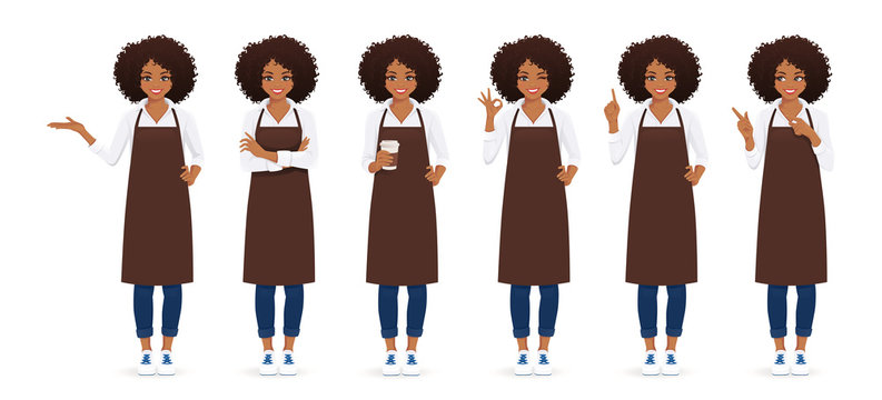 Smiling woman with afro hairstyle in apron standing with different gestures isolated vector illustration