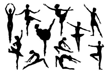 Silhouette ballet dancer woman dancing in various poses and positions