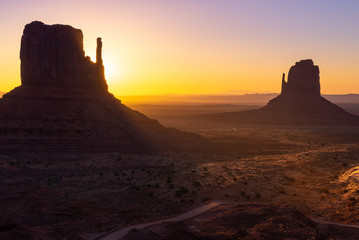 East and West Mitten Buttes at sunrise, Monument Valley Navajo Tribal Park on the Arizona-Utah border, USA