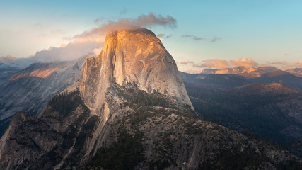 Aluminium Prints Salmon Half Dome at sunset from Glacier Point in Yosemite National Park, California, USA