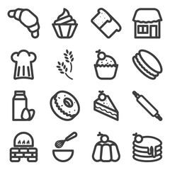 Bakery Icons. The set includes various confectionery products, as well as methods and means of their preparation and sale. Vector on a white background
