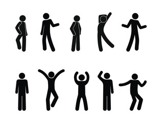 man icon, dancing and posture, people stand, waving, sticks figure people illustration, isolated human silhouettes