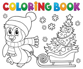 Coloring book Christmas penguin topic 7