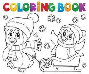 Acrylic Prints For Kids Coloring book Christmas penguin topic 8