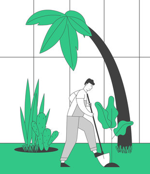 Farmer Man in Overalls Working in Garden Digging Soil and Care of Plants in Greenhouse. Gardener Planting Sprouts to Ground. Active Outdoor Hobby or Work Cartoon Flat Vector Illustration, Line Art