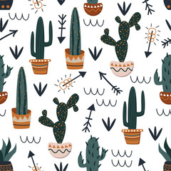 Aluminium Prints Plants in pots seamless pattern with cacti and arrows on white background - vector illustration, eps