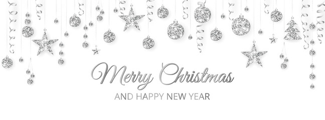 Wall Mural - Merry Christmas banner with silver decoration on white background