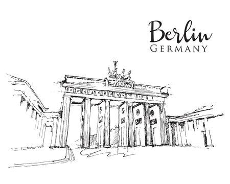 Drawing sketch illustration of the Brandenburg Gate