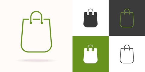 Shopping bag vector icon set green color isolated on background for farm fresh shop, natural product market, vegan food store, organic product, bio store, eco sign. 10 eps