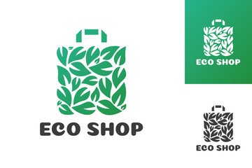 Eco shop logo consisting of shopping bag and leaf green color isolated on background for farm fresh shop, natural product market, vegan food store, organic product. Vector 10 eps