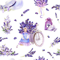 Recess Fitting Floral woman Seamless pattern in a Provence style with lavender flowers, arrangements, bouquets, tilda doll, summer hat, pot hand drawn in watercolor isolated on a white background. Ideal for wallpaper or fabric